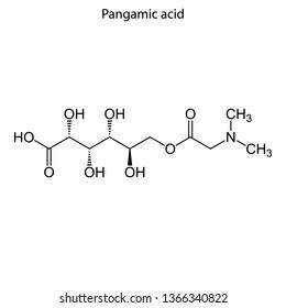 Skeletal formula of Pangamic acid. Vitamin B15 chemical molecule.