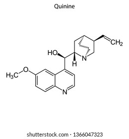 Skeletal formula of Quinine. chemical molecule.