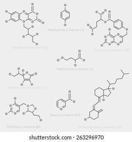 Skeletal formulas of some vitamins. Schematic image of chemical organic molecules, nutrients.