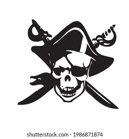 the skeletal head of a pirate