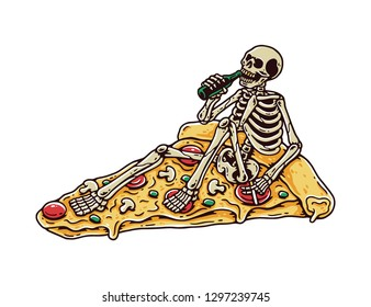 Skeleteon Drunk on a Pizza with White Background