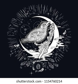 skeleton of an animal, solar system, outer space. sketch for printing on clothes. vintage retro vintage style engraving. vector