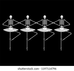 Skeleton ballerina isolated. Skull and bones ballet. Halloween Vector illustration.