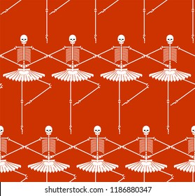 Skeleton ballerina pattern. Skull and bones ballet. Halloween background Vector illustration.