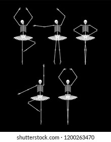 Skeleton ballerina set. Skull and bones ballet. Halloween Vector illustration.