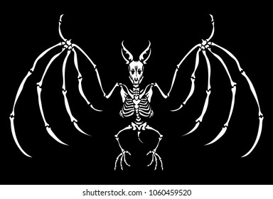 A skeleton of a bat. Isolated on a black background. Great for tattoo or print on a T-shirt. Ideal for decoration of Halloween and the Day of the Dead.
