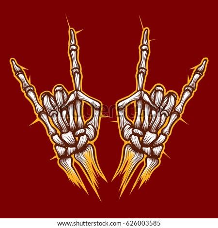 91452be1cd7 Skeleton bones hands heavy metal or rock music sign vector background