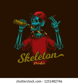 Skeleton with a bottle of beer and a cigarette in his hands in vintage style. Vector illustration. T-shirt or sticker design.