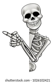 A skeleton cartoon character peeping around the side of a sign and pointing