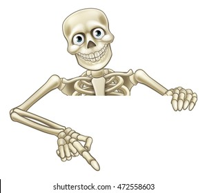 A skeleton cartoon character peeping over a sign and pointing down at it
