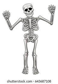 Skeleton cartoon character waving both hand