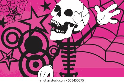skeleton cartoon halloween background in vector format very easy to edit