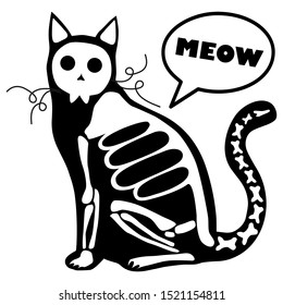 Skeleton cat. Design for the Mexican holiday Day of the dead and Halloween. Vector illustration.