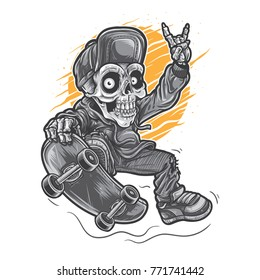 Skeleton character playing skate board.