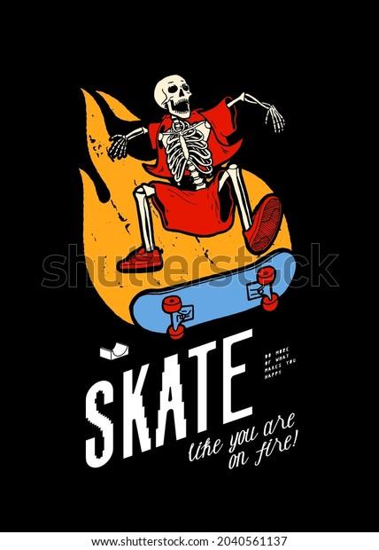 skeleton-character-skateboarding-on-fire