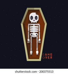 skeleton in coffin. death - vector illustration