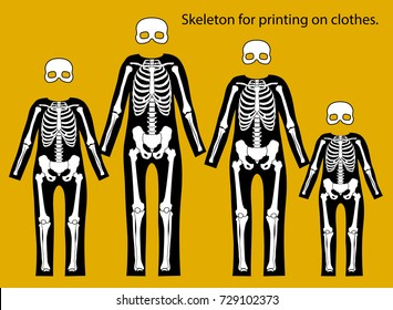 Skeleton costume. Skeleton for printing on clothes. Day of the dead.