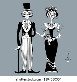 Skeleton couple in love. Dia de Muertos. Mexican tradition. Black and white. Vector illustration.