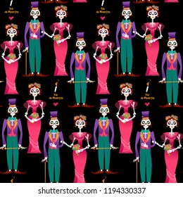 Skeleton couple in love. Dia de Muertos. Mexican tradition. Seamless background pattern. Vector illustration.