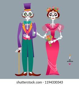 Skeleton couple in love. Dia de Muertos. Mexican tradition. Vector illustration