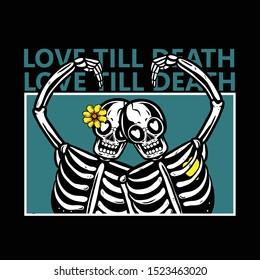 skeleton couples in love with flowers on head / love till death t-shirt design / skull love vector illustration