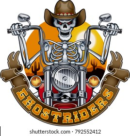 skeleton with cowboy hat riding motorcycle
