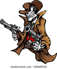 Skeleton Cowboy  with skull and Hat Aiming Guns