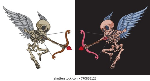 Skeleton cupid mascot. Vector handcrafted illustration of cupid skeleton with angel wings, bow and cupid arrow. Good for greeting cards, banners, stickers, t-shirts and posters.