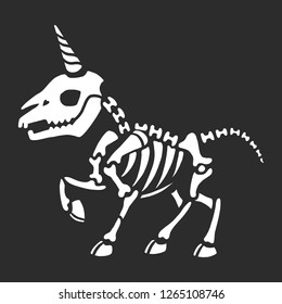Skeleton of a cute little unicorn. Anatomy of fantastic animals. Great for tattoos, t-shirt printing and more. Halloween illustration.
