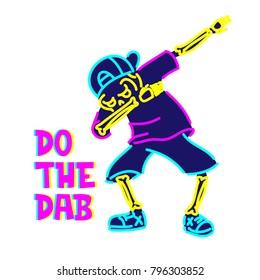 Skeleton dab illustration. Pop culture design series