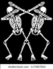 Skeleton Dabbing T shirt Vector Design Graphic For Halloween