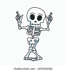 skeleton dancing cartoon illustration, hand drawn style and white background