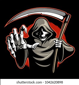 Skeleton, death with the scythe, vector image.