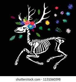 Skeleton of a deer with a wreath of flowers and leaves. A deer among the flowers is isolated on a black background. Print in the Gothic style. illustration for Halloween.
