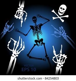 Skeleton details, hand popular gestures, victory, ok, etc. for halloween
