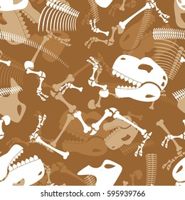 Skeleton dinosaur seamless pattern. Dino Bones ornament. Tyrannosaurus Skull background. Prehistoric reptile texture.