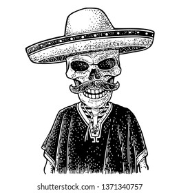 Skeleton dressed in the poncho, sombrero. Isolated on white background. Vector hand drawn vintage engraving for poster Day of the Dead, Dia de los Muertos