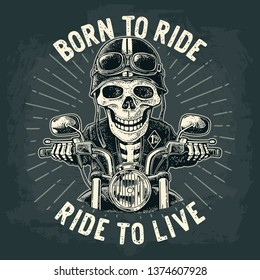 Skeleton driving a motorcycle rides.  Vector vintage engraving. For poster and t-shirt biker club