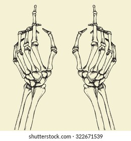Skeleton finger pointing. Vector hand drawn illustration.