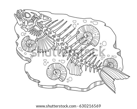 Skeleton Fish Coloring Book Vector Illustration Stock Vector ...