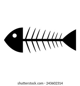 Skeleton of fish icon on white background. Vector illustration.