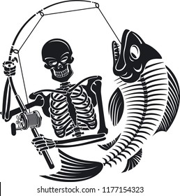 skeleton fisherman catching skeleton fish