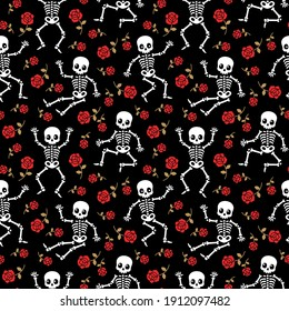 Skeleton fun silhouettes with red roses seamless vector pattern.