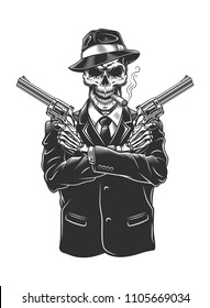Skeleton gangster with revolvers in suit. Vector illustration