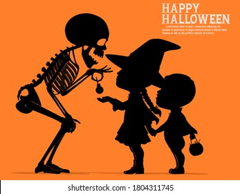 A skeleton is giving the children some candy in the Halloween night