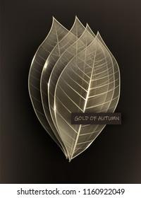 Skeleton gold leaves. Autumn background. Vector illustration