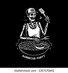 SKELETON GRILL MASTER BARBECUE PARTY BLACK BACKGROUND