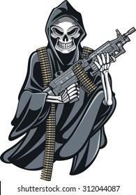 skeleton grim reaper holding m249 machine gun