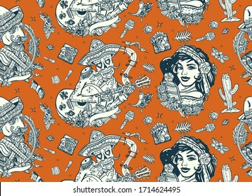 Skeleton with guitar, mexican woman, bandit. Mexico. Retro seamless pattern. Day Of Dead art. Old school tattoo vector background. National culture and people