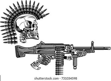 Skeleton with guns cartridges and rifle Machine Gun